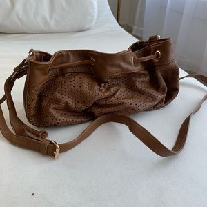Brown faux-leather bag